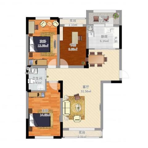 蓝色港湾3室1厅1卫1厨107.00㎡户型图