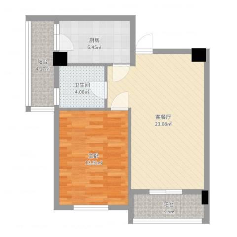 中信新天地1室2厅1卫1厨69.00㎡户型图