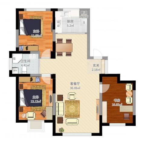 蓝色港湾3室2厅1卫1厨101.00㎡户型图