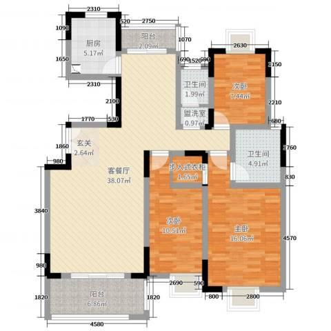 联泰香域滨江3室2厅2卫1厨142.00㎡户型图