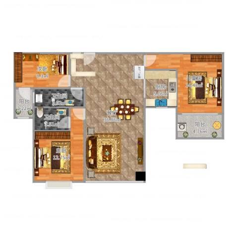 东方国际12-2-16053室1厅2卫1厨115.00㎡户型图
