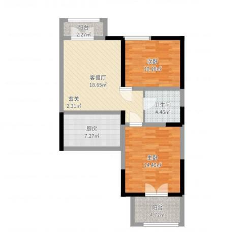 浦江瑞和城2室2厅1卫1厨77.00㎡户型图