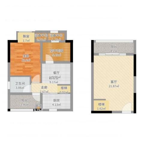 橡墅1室1厅1卫1厨82.00㎡户型图