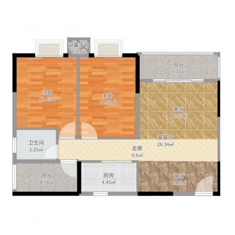 橡墅2室2厅1卫1厨89.00㎡户型图