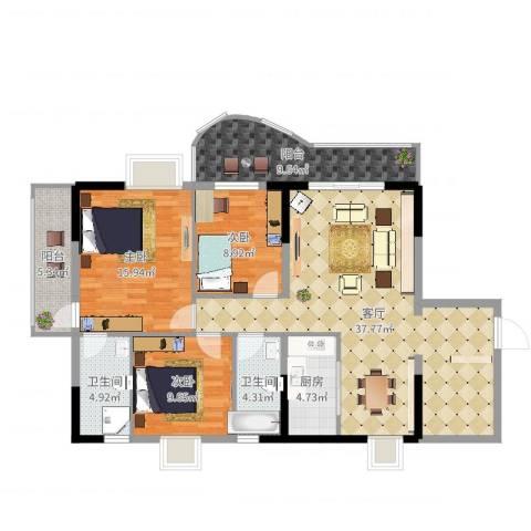 圣堤亚纳3室1厅2卫1厨127.00㎡户型图