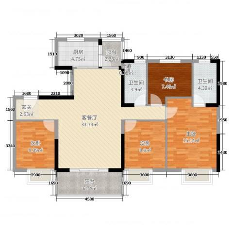 碧桂园山河城4室2厅2卫1厨142.00㎡户型图