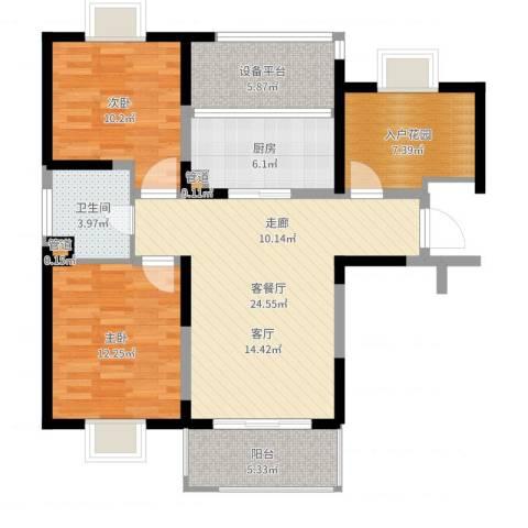新虹桥首府2室2厅1卫1厨95.00㎡户型图
