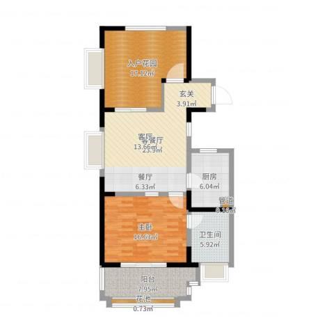 新虹桥首府1室2厅1卫1厨98.00㎡户型图