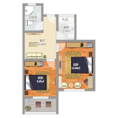 金塔新村2室1厅1卫1厨54.00㎡户型图
