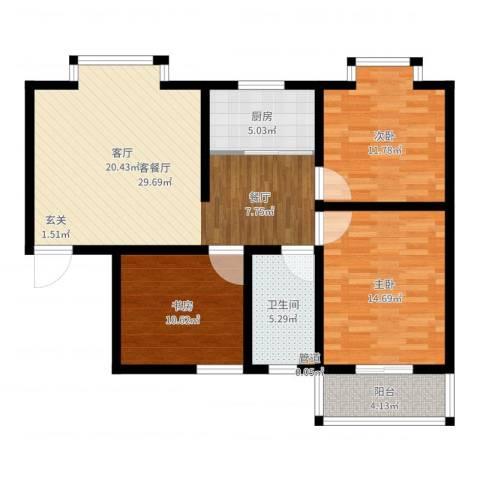嘉兴青年新城3室2厅1卫1厨102.00㎡户型图