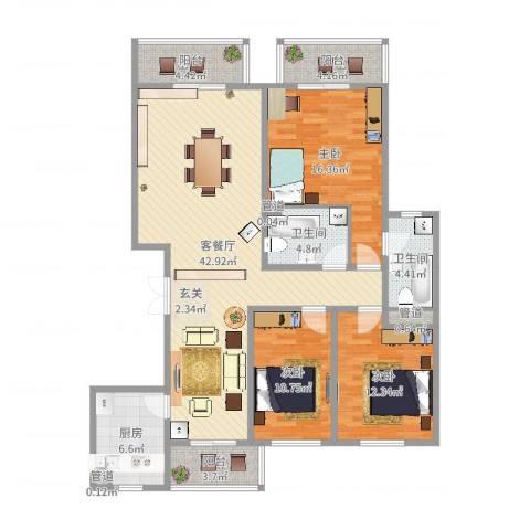 滨河湾城市花园3室2厅2卫1厨139.00㎡户型图