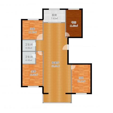 山水文园4室2厅2卫1厨161.00㎡户型图