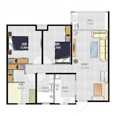 华润绿地・凯旋门3室2厅1卫1厨92.00㎡户型图