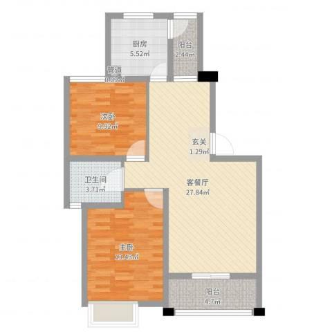 盛世天地2室2厅2卫1厨85.00㎡户型图