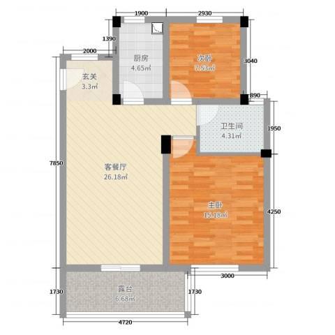 保利西塘越2室2厅1卫1厨82.00㎡户型图