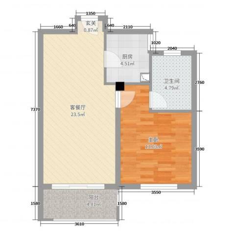 保利西塘越1室2厅1卫1厨65.00㎡户型图