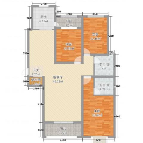 铂宫时代3室2厅2卫1厨139.00㎡户型图