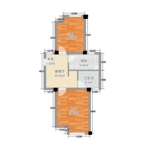 保利西塘越2室2厅1卫1厨61.00㎡户型图