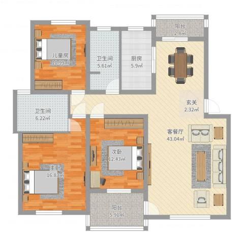 奥克斯天伦城3室2厅2卫1厨137.00㎡户型图