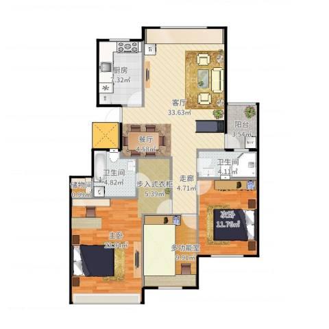 金象泰吉祥家园2室1厅2卫1厨125.00㎡户型图