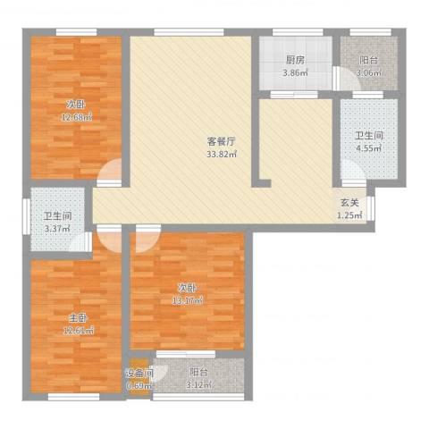 陶然・美地3室2厅2卫1厨114.00㎡户型图