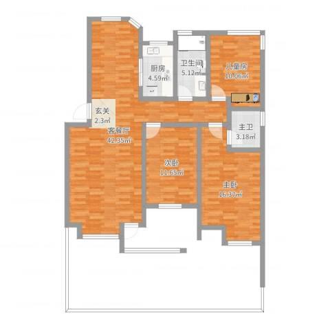 春江花月3室2厅1卫1厨117.00㎡户型图