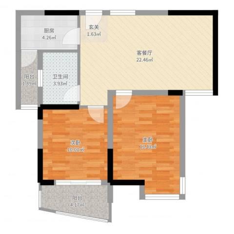 同人・怡和园2室2厅1卫1厨75.00㎡户型图