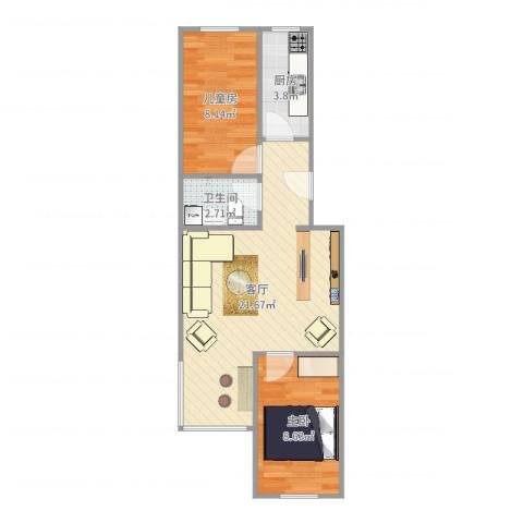 花家地南里2室1厅1卫1厨59.00㎡户型图