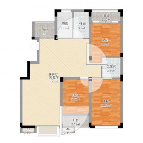 东方塞纳3室2厅2卫1厨110.00㎡户型图