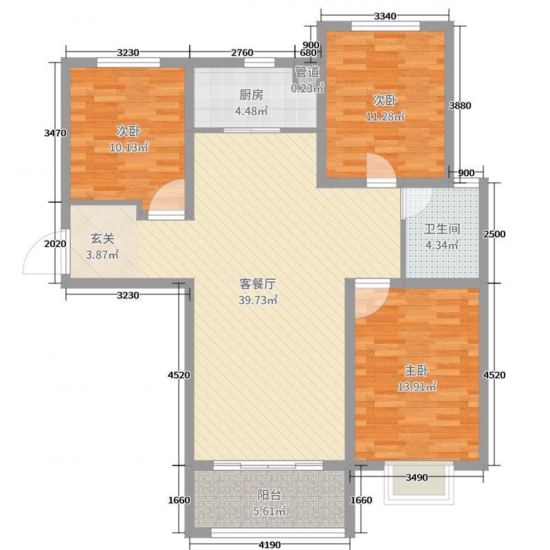天海・博雅盛世111.21㎡8号楼E户型3室3厅1卫