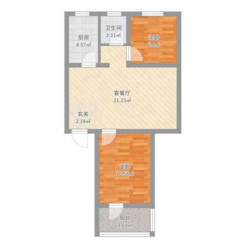 金尚小区2室2厅1卫1厨60.00㎡户型图