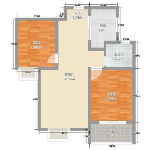 铂宫时代2室2厅1卫1厨89.00㎡户型图