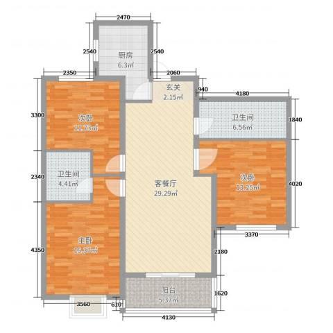 铂宫时代3室2厅2卫1厨114.00㎡户型图