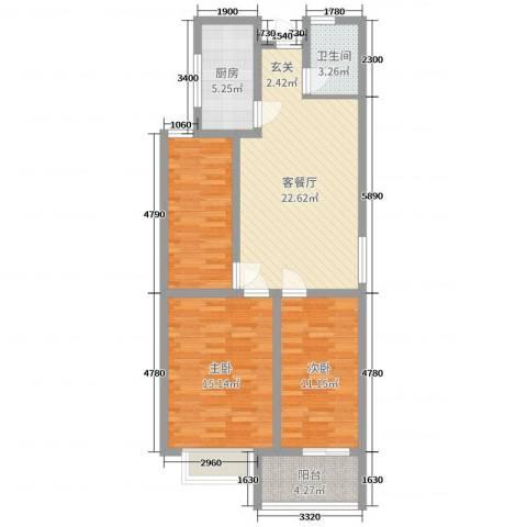九巨龙・玖玺3室2厅1卫1厨89.00㎡户型图