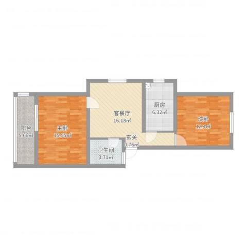 虹园六村2室2厅1卫1厨75.00㎡户型图