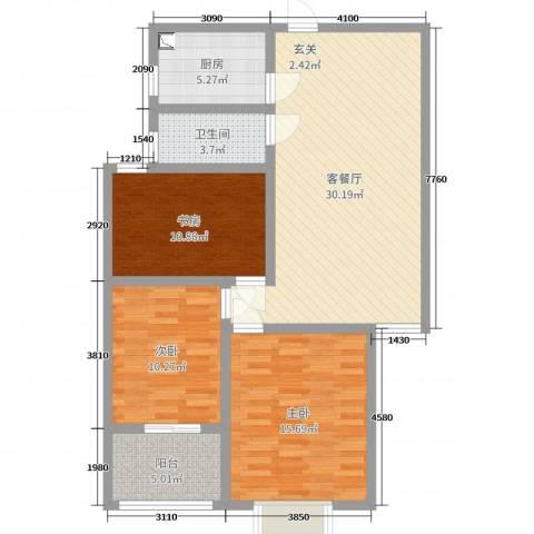 九巨龙・玖玺3室2厅1卫1厨101.00㎡户型图