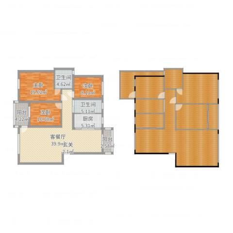 奥克斯天伦城3室2厅2卫1厨248.00㎡户型图
