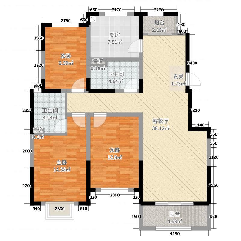 太原富力城135.00㎡六期户型3室3厅2卫1厨