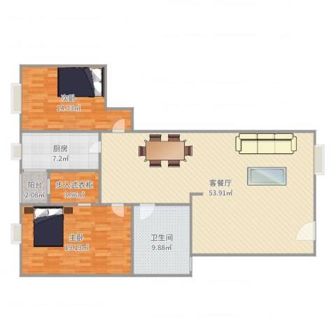 丽日华庭2室2厅1卫1厨139.00㎡户型图