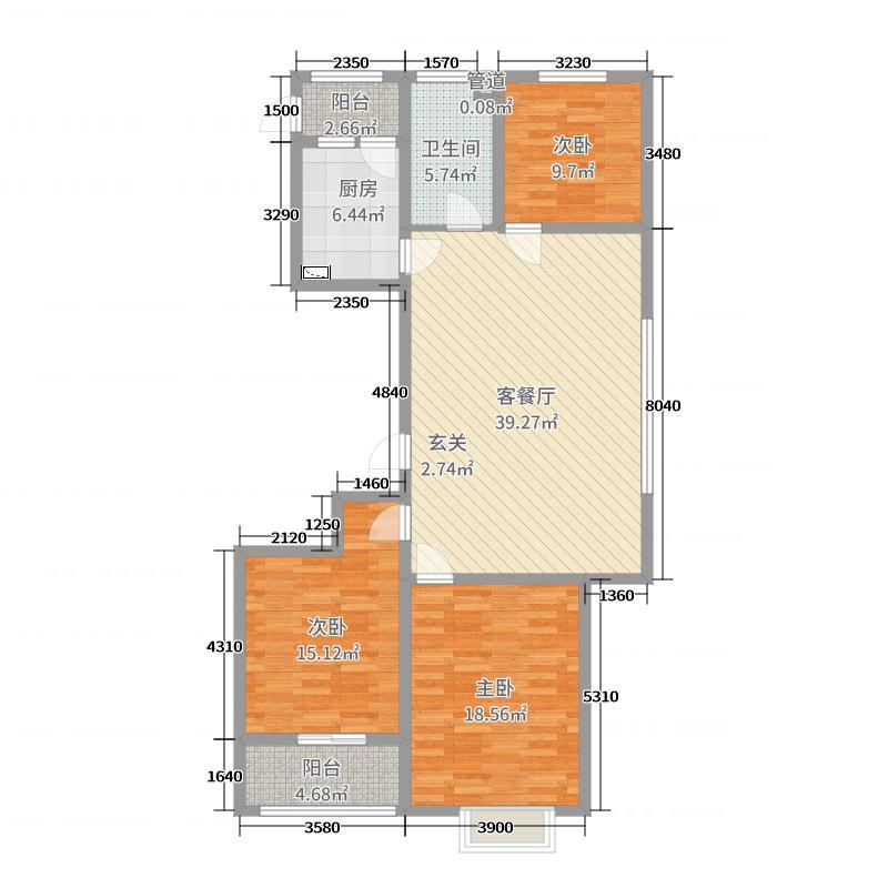 大有公馆127.00㎡D户型3室3厅1卫1厨