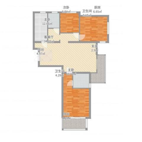 天阔逸城3室2厅2卫1厨132.00㎡户型图