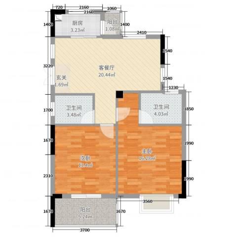 凤鸣新天地2室2厅2卫1厨86.00㎡户型图