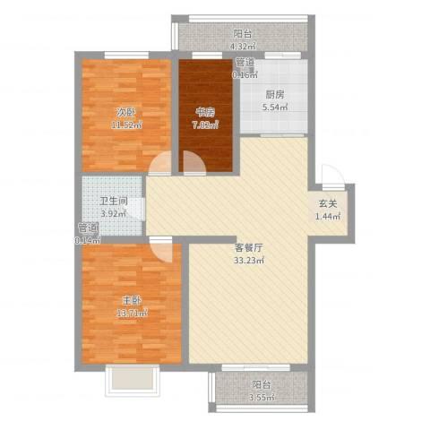 东方之珠3室2厅1卫1厨104.00㎡户型图