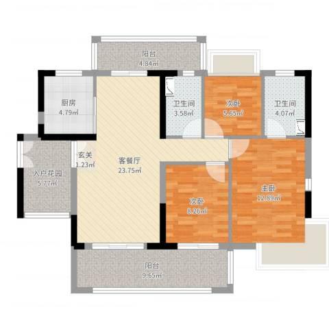 越秀星汇云锦3室2厅2卫1厨104.00㎡户型图