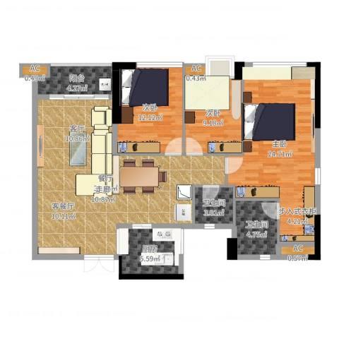 西城楼华府3室1厅2卫1厨130.00㎡户型图