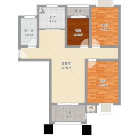科倍尚城3室2厅1卫1厨89.00㎡户型图