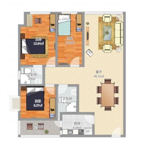 天誉花园3室1厅2卫1厨108.00㎡户型图