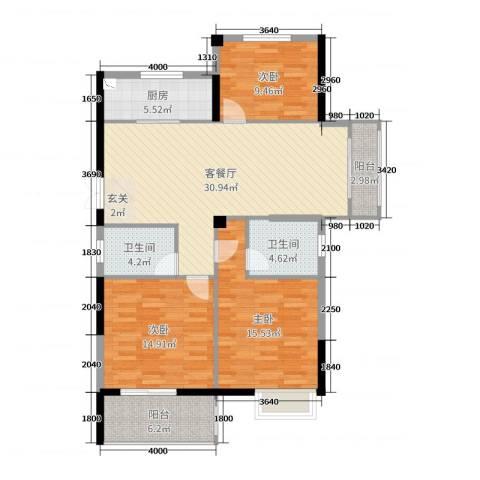 凤鸣新天地3室2厅2卫1厨118.00㎡户型图