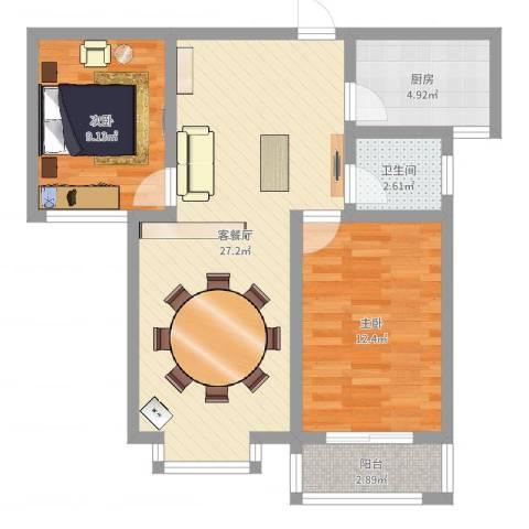 东方世纪城2室2厅1卫1厨74.00㎡户型图