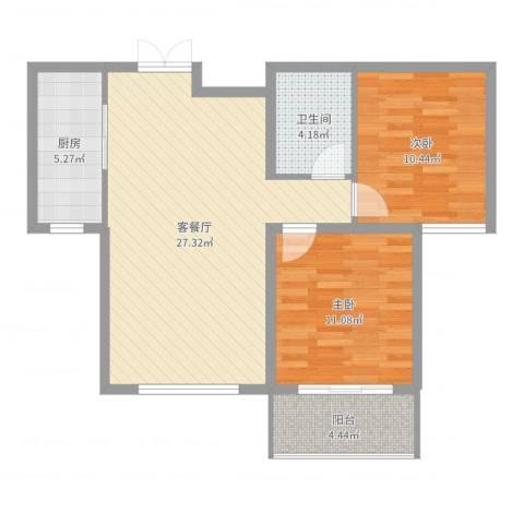 馨园丽景2室2厅1卫1厨78.00㎡户型图